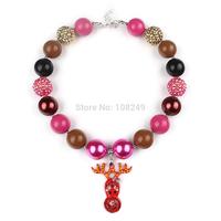 5pcs/lot Large Boutique Christmas Kids Chunky Necklace Red Reindeer Pendant Bubblegum Jewelry For Festival Decoration