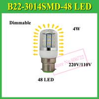 High Brightness B22 Dimmable 4W LED Lamps 48LEDs AC 110V 220V 230V 3014 SMD Corn Bulb Ceiling Light,1Pcs