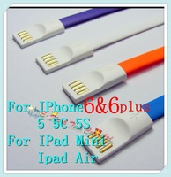 100pcs free shipping New Arrival TPE Cable Super Width 8mm noodle cable sync charger/data cable for iphone 6 5 4 4s for ipad 2 3