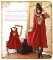 Forest mori girl style preppy dress patchwork national bohemia lolita loose tank dress vestido oncinha brandy harajuku dresses