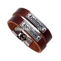 HOT Fashion Couple Believe Bracelet Jewelry Vintage Alloy Believe Charm Genuine Leather Bracelet Bangles Women Men