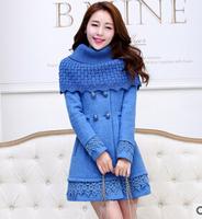 fourrure 2014 Korean version of the new winter woolen coat Korean Girls Long Slim cashmere woolen coat