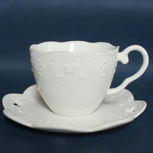 Brand New Bone China Embossed Ceramic 100% Hand Made White Lace Flower Coffee Cup Set