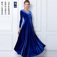 2015 high quality plus size S-XXXL gold velvet fashion dress  long sleeve v neck  big swing mopping winter floor dresses 5 color