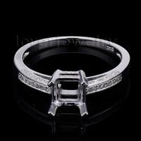 2015 New Arrivals Engagement Princess 6mm Solid 14kt White Gold Diamond Semi mount Ring SR0024