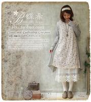 Mori girl lolita forest girl loose dress spain desigual flroal printing winter basic vestido oncinha harajuku brandy melville