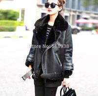 New 2014 winter women warm thick faux fur jacket boyfriend loose size black zipper brand motorcycle jackets outerwear streetwear