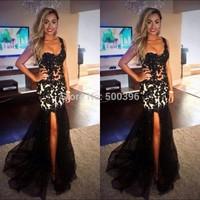 Mermaid Prom Dresses 2015 vestidos de festa longo One Shoulder Black Dress Long Slit Sheer Lace Sexy Party Pageant Gowns