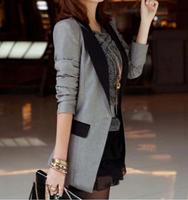 2015 Autumn spring  new women's Long sleeve slim long style Blazers suit coat 3 colors