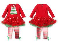 Fashion Baby girl red green Xmas clothes set  Christmas clothes set  2 pcs Xmas top+ pettiskirt skirt pants  Free shipping
