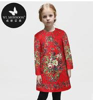 High End 2014123 autumn&winter girl print dress  children princess floral dress,designer kids dobby dress girls' floral dresses