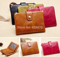New Oil wax cowhide Women's 100% Genuine Leather wallet,Women Short wallets buckle purses,Credit Card Bag Coin Purses LYPL-189Y