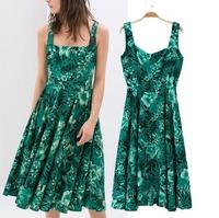 2015 Casual European Style Women Summer Spring Dress Backless Spaghetti Strap Chiffon Large Hem Sleeveless Famous Brand CL2090