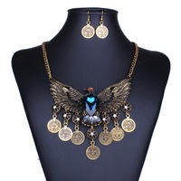 2015 New Arrival Exaggeration Crystal Eagle Coin Tassel Statement Necklace Earring Vintage Hollow Out Open Wings Jewelry sets