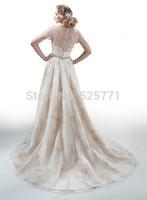 Romantic High Neck Cap Sleevs Wedding Dresses 2014 vestido de noiva princesa Beading Sash Applique Bridal Gowns