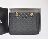 2015 designers brand lady Classic Black Caviar Leather GST shoulder Bag women's Grand Shopping Tote Bag 20995 Quilted handbag