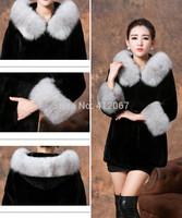 Long Black Faux Mink Coat Rex Rabbit Fur Women Coats with Fox Fur Sleeves with Fox Fur Trim Hood ladies Overcoats womens jackets