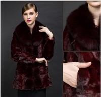Long Women Natural Mink Fur Coats with Fox Fur Collar Lady Overcoats/Natural long women fur Coats/Natural fur ladies coats