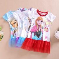 Frozen Baby Girls Cacual Charactor Summer Dress roupas Vestidos Infantis De Meninas Girl Dresses short Sleeves Costumes For Kids