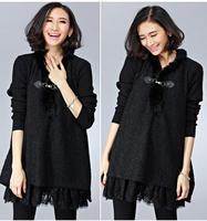 2014 New Fleece Korean Fruit Twisted Collar Plus Size Winter Dress Women Lace Fur Collar Luxury Dresses vestido fiesta