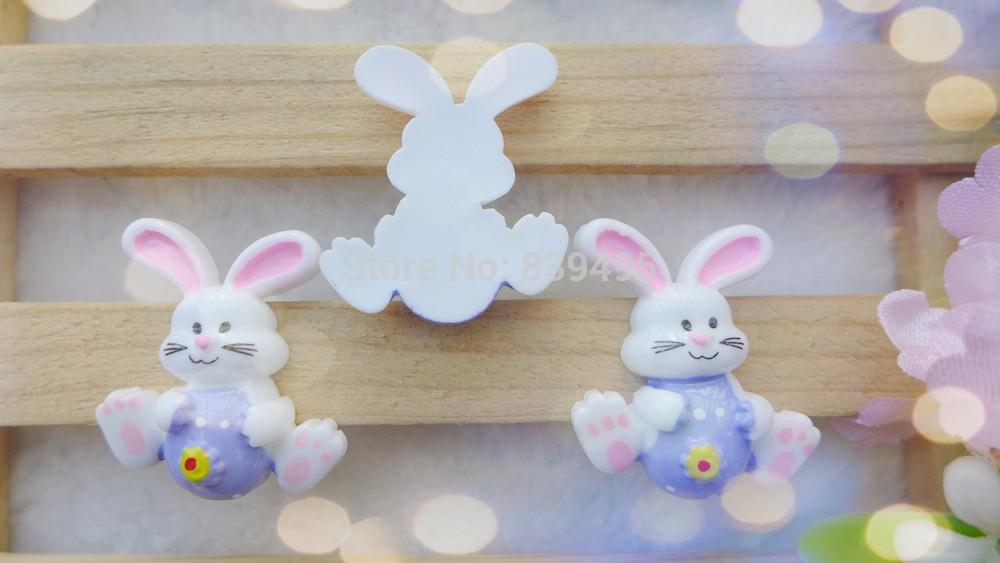 Free Shipping! 50pcs Purple Colorful Easter Rabbit Resin Cabochon Flatbacks Scrapbooking Hair Bow Center Crafts(China (Mainland))