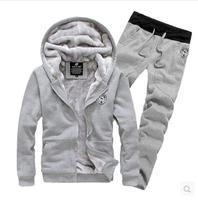 New 2015 Autumn winter Free shipping comfort single Men's suit Fleece sweater pants hoodies sport set Plus size M-XXXL