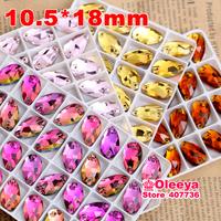 10.5x18mm 100pcs/bag  Sew on Rhinestones,Drop-shaped Stones Teardrop  Rhinestone Dropwater Crystals ,Mix Color(15 Colors) O2501