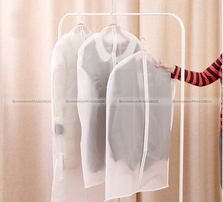 ShanghaiMagicBox 3pcs Dress Coat Clothes Garment Suit Cover Bags Eco Dust Proof Hanger Storage 40414320(China (Mainland))