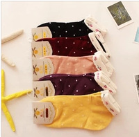 2015 Promotion Wholesale Fresh Pastoral Style small Flowers Bubble Dot High 100% Cotton Ladies Boat Socks 20 Pairs/lot