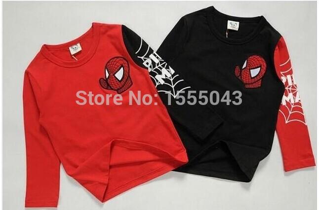 Hot sale New 2015 Kids Boys Baby Girls Spiderman Hero T-shirt long Sleeve kids Tops 100%cotton children's Clothes(China (Mainland))
