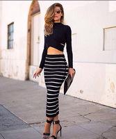 2014 AW Free shipping Fashion cut out high collar striped bodycon dress