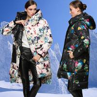 High quality women's plus size white duck down coat medium-long female print thickening down coat