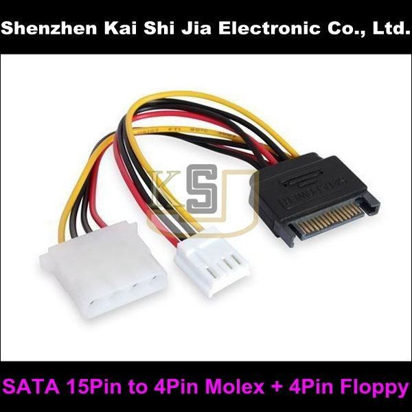 50PCS Brand New SATA 15Pin Male Power to 4Pin Molex + Small 4Pin Floppy Drive Power adapter cable(China (Mainland))