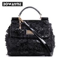 Fashion flower lace women(ladies) bags handbags women famouse brands Genuine leather bags