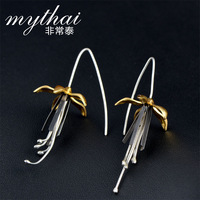 Very Thai S925 silver Thailand handmade long earring Chinese wind wire ear hook earrings