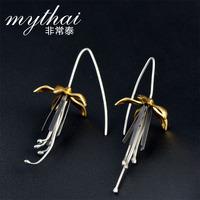 Very Thai S925 silver Thailand handmade long earring Chinese wind wire ear hook earrings