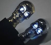 Free shipping Skull Head Three-Folding Light-up Eyes Skeleton Handle Folding Umbrella 2 Color sliver and gold