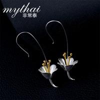 925 sterling silver Thai Thailand making handmade drawing long earrings earring 2014 new flower earrings