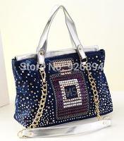 New perfume bottle design personalized Crystal Rivet PU chain stitching canvas shoulder bag messenger bag ladies handbag