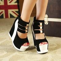 2015 Ladies Sexy Platform High Wedge Heel Shoes Women Summer Sandals Pumps Back Zipper S140
