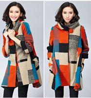 2014 Plus Size Wool Coat Women's Woollen Winter Coats Cape Windbreaker Korean Contrast Fashion Suede Trench