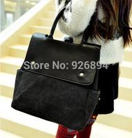 Multifunctional PU casual fashion denim canvas  handbags popular across body messenger bag shoulder bag Black & Blue