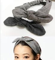 2015 NEW cotton plaid stripe design bow design handmade korea style fashion headband elastic headband hairbands hair accessories
