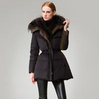 2014 down coat fashion high quality luxury raccoon large fur collar down coat women, winter outdoor long parka