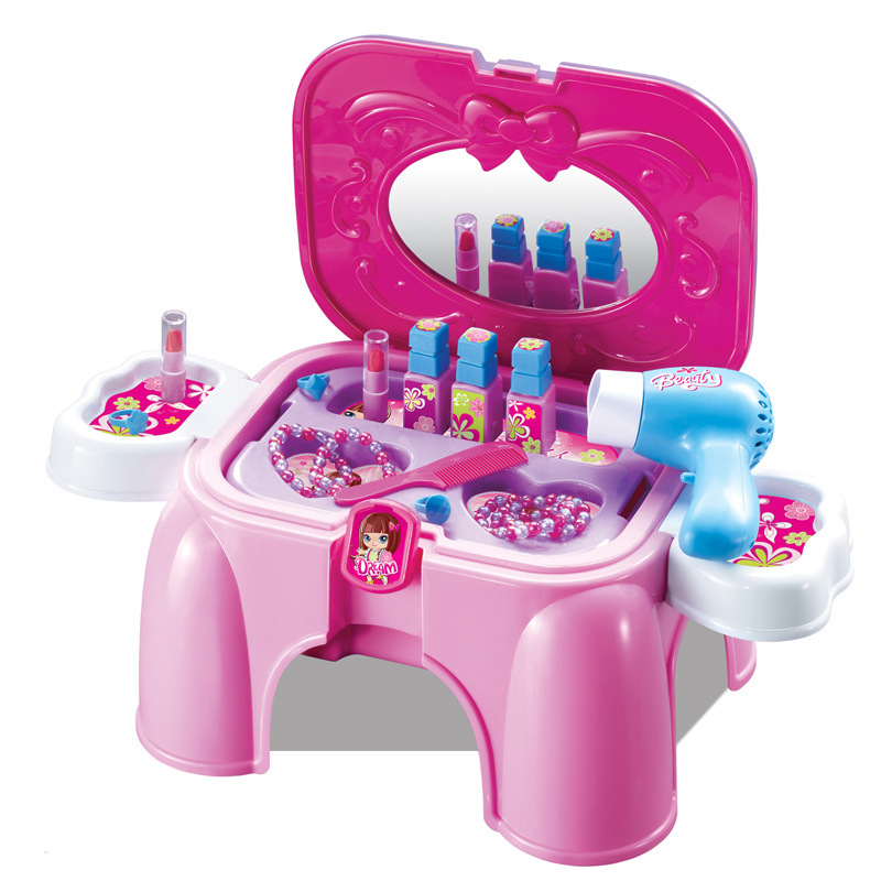 Pretend Toys Girls Make Up Set Hand Carry Chair miniature Makeover Pretend Furniture Girl Dressing Table Plastic Play House(China (Mainland))