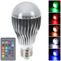 120 Degree RGB LED Bulb E27 9W AC 85-265V LED Lamp 16 Colors with Remote Control