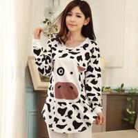 Autumn and winter women long-sleeved couple pajama suit tracksuit cute cartoon cows Pajama pants suit pyjamas women Sleepwear