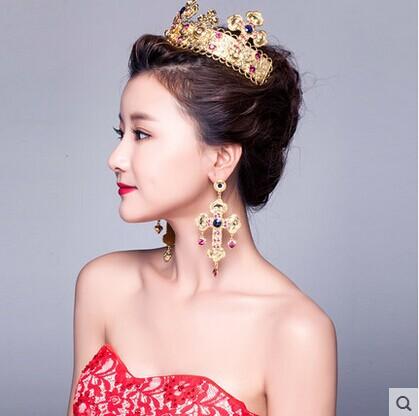 Golden crown bridal headdress Earrings Set(China (Mainland))