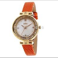 Free Shipping Watch Women Brand JULIUS Quartz Wristwatches Round Fashions Shell Dial Dress Watches Clock Leather Strap JA-746