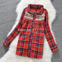 New Fashion Womens Tops Casual Blouse Turndown Collar Long Sleeve Plaids Print Pattern Flannel Shirt